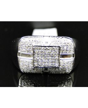 Pave Set Diamond Pinky Ring in Sterling SIlver/10K White Gold