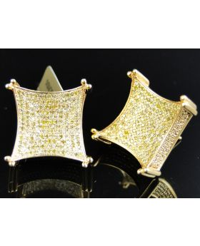 Mens Ladies 10K Yellow Gold Canary Diamond 3D Kite Pave Shape Stud Earrings