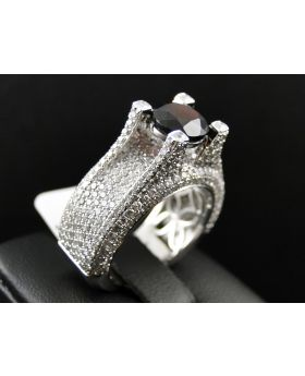 Mens 10K White Gold Diamond Ring 1.85ct