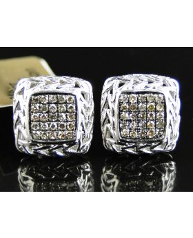 Brown Diamond Square 11 MM Earring set in 10k White Gold (0.50 Ct)