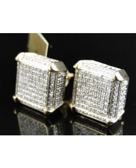 White Diamond 12 MM Cube Dice Earring set in 10k Yellow Gold (0.75 Ct)