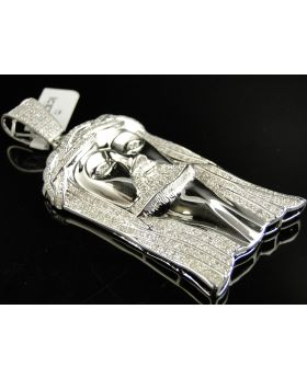 XL Sterling Silver Jesus Pendant with Genuine Diamonds (3.0 Ct)
