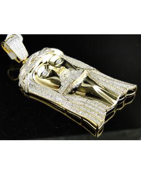 XL Yellow Sterling Silver Jesus Pendant with Genuine Diamonds (3.0 Ct)
