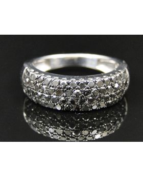 Ladies White Gold Finish Round Cut Black Diamond Ring 1.10 Ct