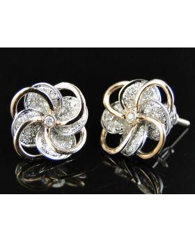 Floral Diamond 13 MM Earring set in White/Rose Gold (.75 Ct)