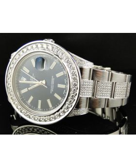 Rolex Datejust II Watch w/ Custom Set Diamonds (10 ct)
