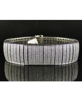 Round Cut Diamond 8.5 Inch Bracelet set in 14K White Gold (30 ct)
