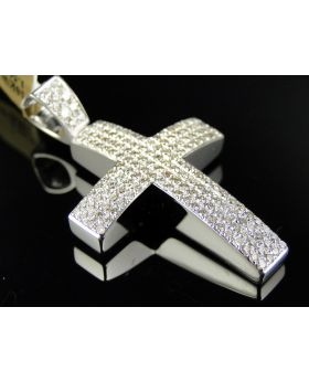 Pave 1.7 Inch Diamond Cross set in 10K White Gold (2.0 Ct)