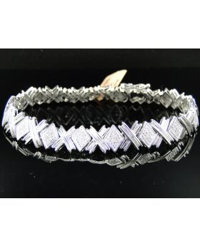 XOXO Round Cut Diamond Bracelet in Sterling Silver (0.40 Ct)