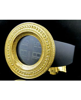 Mens Simulated Diamond Designer Watch In Yellow Gold Finish (Canary Bezel)