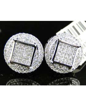White Diamond Round Square Shape Earring set in 14k White Gold (1.33 Ct)