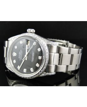 Rolex Datejust Stainless Steel Black Dial Diamond Watch 2.5 Ct