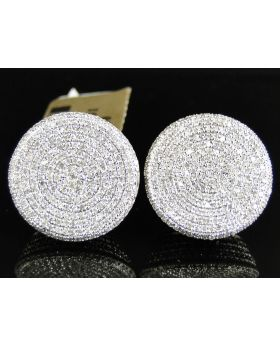 XL Round Circle Diamond Earrings set in 10k Yellow Gold (1.80 Ct)