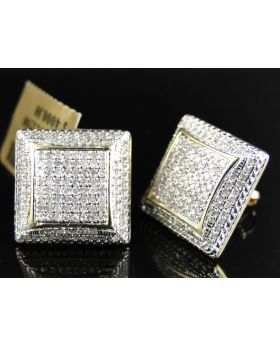 Puffed Square Diamond Earrings set in 10k Yellow Gold (1.30 Ct)