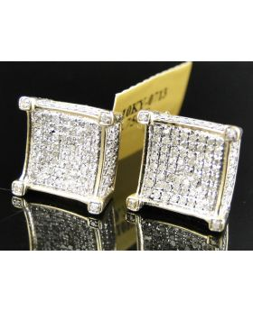 Cube 3D Prong Diamond Earrings set in 10k Yellow Gold (1.0 Ct)