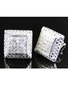 Puffed Square Diamond Earrings set in 10k White Gold (0.40 Ct)