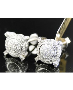 Round Circle Prong Diamond Earrings set in 10k White Gold (1.13 Ct)