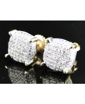 Round Dome Diamond Earrings set in 10k Yellow Gold (0.50 Ct)