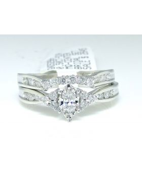 Marquise Cut Diamond Ring Set in 14K White Gold (0.50 Ct)
