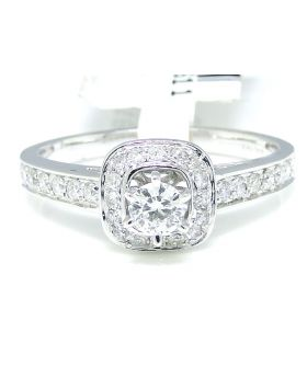 Round Cut Diamond Ring in 14K White Gold (0.51 Ct)