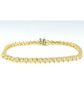 Round Cut Diamond Bangle Tennis Bracelet in 14K Yellow Gold