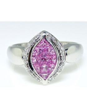Princess Cut Pink Sapphire Diamond Ring in 18K White Gold (0.51 Ct)