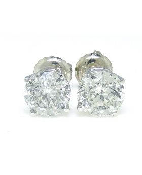 Solitaire Diamond Earrings in 14K White Gold (2.10ct)