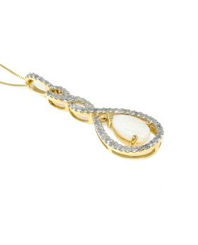 Tear Drop Diamond Pendant set in 14K Yellow Gold