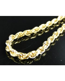 Yellow Gold Solid Rope Chain in Sterling Silver 4.5 mm