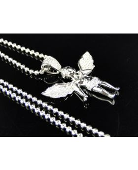 Diamond Angel Cherub Pendant set in 10k White Gold with Chain (1.25 inches)