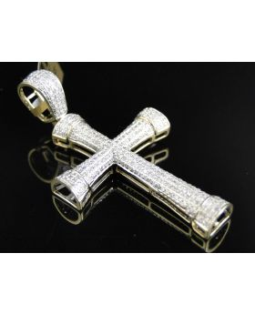 Yellow Gold Dome Cross with Pave Diamonds 2.10 Inch