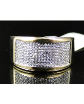 Yellow Finish Pave Diamond Ring in Sterling Silver  (0.40 Ct)