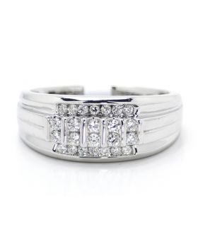 14K White Gold Channel Set Wedding Band Ring (0.47 Ct)