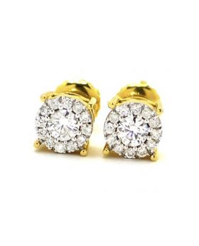 Round Cut 7 MM Studs in 14k Yellow Gold (.75 Ct)