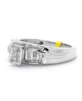 White Finish Princess Cut Diamond Engagement Cinderella Ring (0.50 Ct)