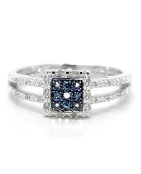 Blue and White Diamond  Fashion Ring set in Sterling Silver (0.25 Ct)