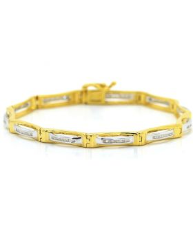 Two Toned Round Cut Diamond Bracelet in Sterling Silver (0.50 Ct)
