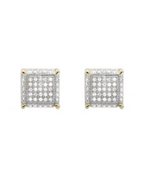 10K Yellow Gold Square Cube Dice Diamond 9MM Stud Earrings 0.75ct.