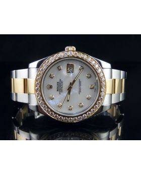 Mens Rolex Datejust II 116333 White MOP Dial Diamond Watch 3.25 Ct