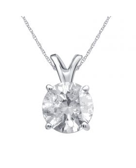14K White Gold Real Round Diamond Solitaire Pendant Chain 0.75ct