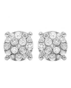 10K White Gold Real Diamond Prong Studs Earrings 1.02 CT 9MM