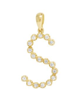 "10K Yellow Gold Real Diamond Initial ""S"" Pendant 0.20 CT 1"""