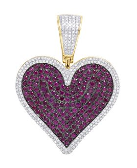 10K Yellow Gold Real Ruby Diamond Heart Pendant 3.45 CT 1.75""