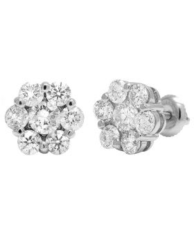 14K White Gold Round Flower Cluster Diamond Stud Earrings 4CT 10mm