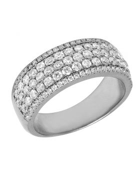14K White Gold Honeycomb Mens Diamond Band Ring 2.25CT 9MM