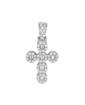 "10K White Gold Baguette Halo Diamond Cross Pendant 1.1"" 1CT"