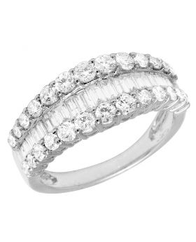 14k White Gold Diamond Band Baguette Curved Ring 1.55CT 8MM