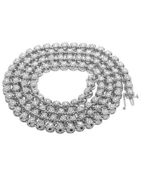 10K White Gold Diamond 7MM Tennis Chain Necklace 8 CT 33""