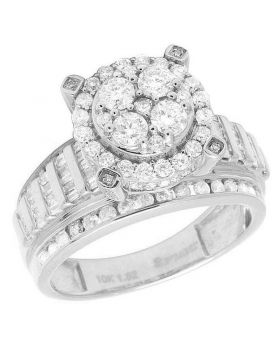 10K White Gold Baguette Diamond Cluster Engagement Ring 1.50Ct 11MM