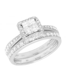 14K White Gold Princess Cut Diamond Square Halo Bridal Ring Set 1 Ct